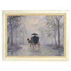 Vintage Impressionist Painting Horse Drawn Carriage Driver w Umbrella in Rain