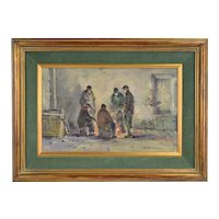 Circa 1950's Impressionist Oil Painting Men in Alley Keeping Warm Around Fire