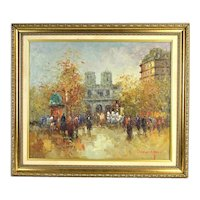 Vintage Impressionist Oil Painting Parisian Street Scene w Notre Dame signed Morgan