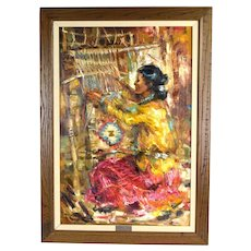Mid Century Oil Painting Southwestern Rug Weaver by Don Ruffin Arizona Artist