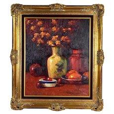 Vintage Impressionist Still Life Painting Vase with Flowers Fruit signed Harper
