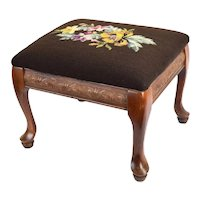 Vintage Petite Footstool Ottoman with Array of Flowers Needlepoint Top