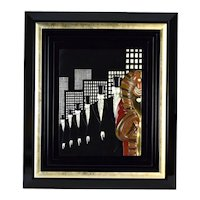 """Erte """"Top Hats"""" Art Deco Bronze Bas-Relief Wall Sculpture Signed Limited Edition"""