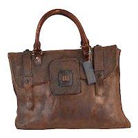 1980's Art Pottery Trompe-l'œil Sculpture Satchel Leather Briefcase Handbag