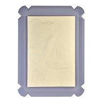Art Deco Bas-Relief Wall Sculpture Stepped Lucite Frame Sexy Woman w Swan