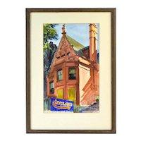 Ralph Rapien Architectural Painting Gothic Mansion w Bear Ornament Chicago
