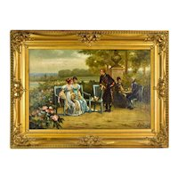 Antique Oil Painting French Empire Scene Soldier Courting Young Ladies sgd Jos. Lemaire