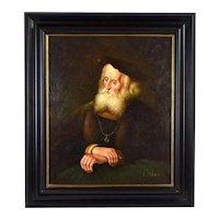 Finely Rendered Portrait of Renaissance Era Bearded Nobleman signed L. Shari