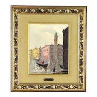 Vintage Antonio DeVity Oil Painting Venetian Canal Scene w Gondolier