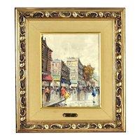 Vintage Antonio DeVity Oil Painting Parisian Street Scene w Pedestrian