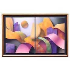 1989 Daniel Heide Geometric Abstract Diptych Large 7ft Painting