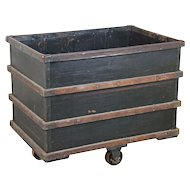 Vintage Industrial Salvage Rolling Dump Bin from Textile Factory