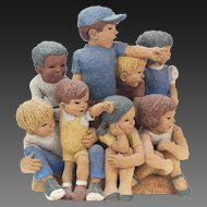 """Studio Pottery Figural Group Children on Parade Curb """"Here They Come!"""""""