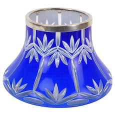 Early 20th Century Bohemian Cased Cut Glass Vase Cobalt White to Clear