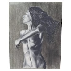 Original Pastel Drawing Nude Woman With Long Black Hair Signed Kopala Chicago Artist