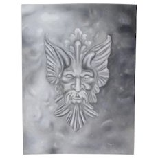 Original Pastel Drawing Mythical Fantasy Creature Head Head