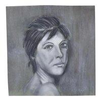 Original Pastel Drawing Pretty Young Woman Signed Kopala Chicago Artist