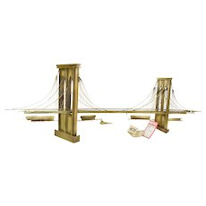 Vintage Mid-Century Modern Curtis Jere Sculpture Brooklyn Bridge NWT
