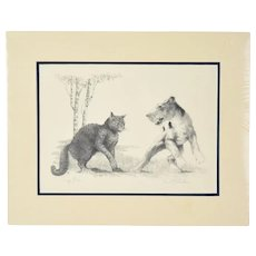 """1931 Original Etching Cat & Wire Fox Terrier Dog Fight """"Sez You"""" sgnd Victor Becker"""