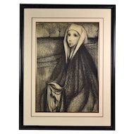 """French Mid-Century Surrealist Charcoal Drawing """"Veronica with the Face of Christ"""""""