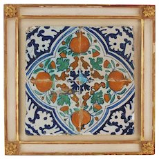 Antique 17th Century Dutch Deflt Polychrome Tile w Pomegranates