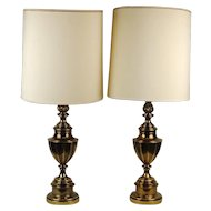 Pair Mid-century Eternal Flame Urn Neo-classical Brass Lamps by Stiffel