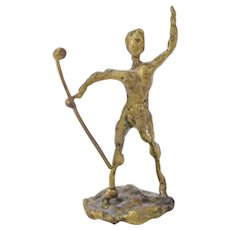 Vintage Miniature Mid-Century Brutalist Bronze Sculpture Athlete or Drum Major