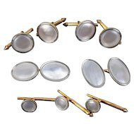 Larter & Sons Art Deco 14k Gold & Mother of Pearl Cufflinks Shirt and Vest Stud Set