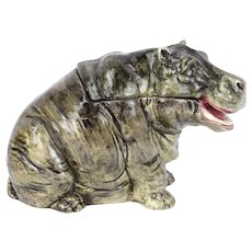 Antique German Figural Majolica Baby Hippo Hippopotamus Humidor Tobacco Jar