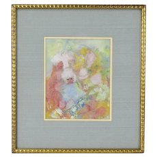 "1960's Gouache Painting Abstracted Little Girls signed ""A. Connor"""
