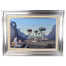 "Mid-Century Tito Salomoni ""Repetition of History"" Surrealist Oil Painting"