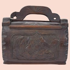 Victorian Era Carved Bamboo Puzzle Purse Handbag with Bird