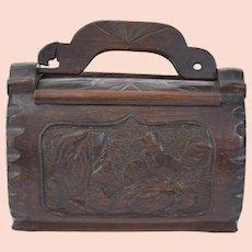 Victorian Era Carved Bamboo Puzzle Purse Handbag with Bird