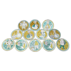 Set 12 Mid-Century Swiss Hand Painted Studio Pottery Plates Luzern Lucerne