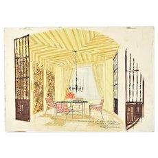 Mid-Century Modern Interior Design Painting Dining Room Risom? Widdicomb?