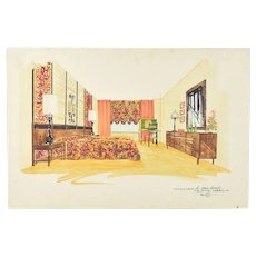 Mid-Century Modern Interior Design Painting Knoll Style Bedroom Furniture
