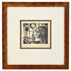 Jean Pierre Alaux French Surrealist Etching Girl w Candle & Scientific Instruments