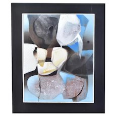 Vintage Mid-Century Modern Abstract Blue and Gray Shapes Oil Painting Lopez