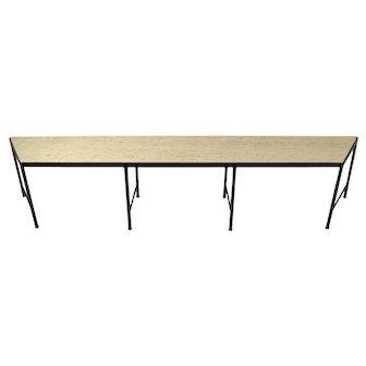 Vintage Mid-Century Modern Black Iron Table Bench Travertine Marble Top