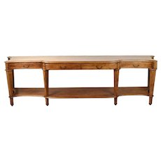 10 Ft. Vintage Mahogany Banded Inlay Breakfront Console or Hall Table