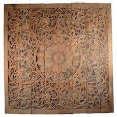 Vintage 8ft. Carved Teak Wood Buddhist Lotus Blossom Mandala Wall Sculpture