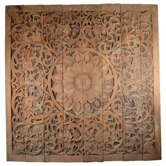 Vintage 8ft. Carved Teak Wood Buddhist Lotus Blossom Mandala Wall Sculpture