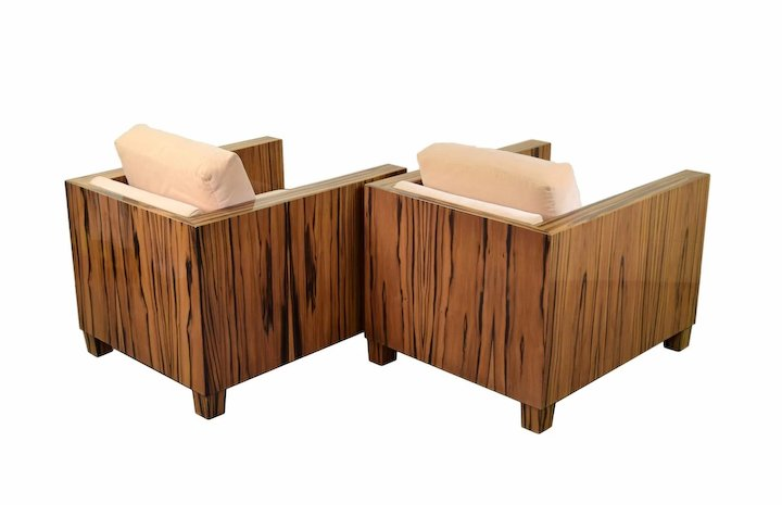 Pair Interior Crafts Chicago Mid Century Modern Style Rosewood Club Chairs