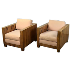 Pair Interior Crafts Chicago Mid-Century Modern Style Rosewood Club Chairs