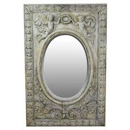 Large French 19th Century Mirror Heavily Carved w Putti Cherubs Holding Wreath