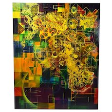 Dale Frank 1986 Abstract Acrylic Resin Mixed Media Painting Australian
