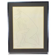 Mid-Century Abstract Drawing Nude Woman by Chicago Artist Faye Franklin