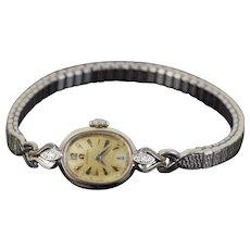 Vintage Mid-Century Ladies Omega Crown Wrist Watch 14k White Gold w Diamonds