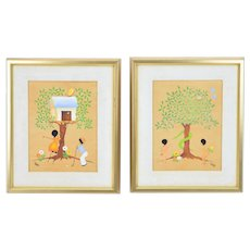 Pair 1970's Whimsical Oil Paintings Adam & Eve and Kids Golfing Joan Gillespie