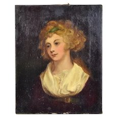 19th Century British Romantic Oil Painting Portrait of Young Girl in Empire Dress